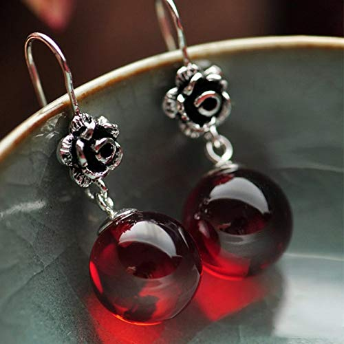 Real 925 Sterling Silver Jewelry | Natural Stone Earrings | for Women | Red Garnet and White Opal Retro Beautiful Rose Flower Carved Earrigs