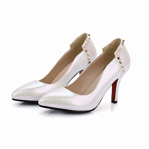 MissSaSa Damen elegant Pointed Toe Pumps mit Stiletto und Nieten glitzer PU high-heel Kleid/Büroschuhe Weiß