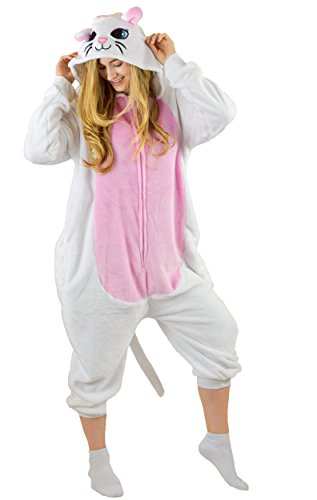 Bad Bear Brand Adult Onesie Cat Animal Pajamas Comfortable Costume With Zipper and Pockets, White/Pink, X-Large -