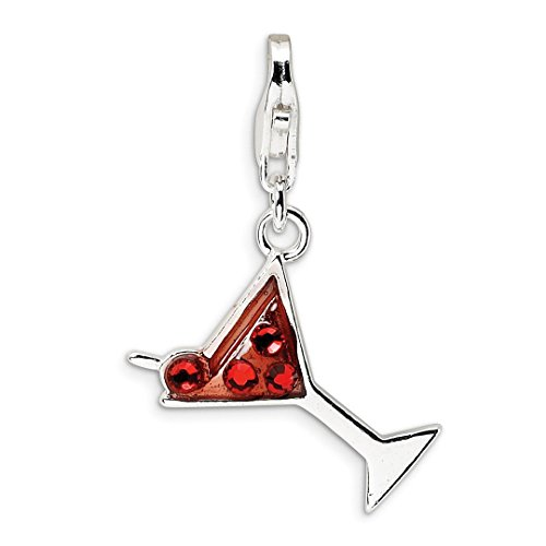 925 Sterling Silver Rh Crystal Martini Glass Lobster Clasp Pendant Charm Necklace Food Drink Fine Jewelry Gifts For Women For Her