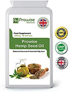 Hemp seed Oil 1000mg 90 Soft Gels Capsules I Rich in Omega 3 & Omega 6 Fatty Acids I UK Manufactured to GMP Code of Practice by Prowise Healthcare