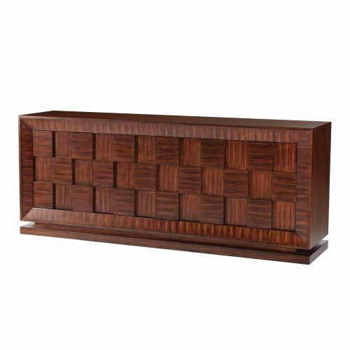 Heirloom Adjustable Shelf Cabinet - Global Views MidCentury Modern Wood Media Console Cabinet  Cube Zebra Wood Stripe Square