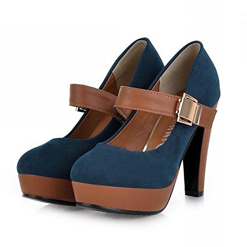 LongFengMa Buckle Pumps Women Lady Heel Platform Blue Shoes Escarpin Quality Fashion High ZxZwqr6