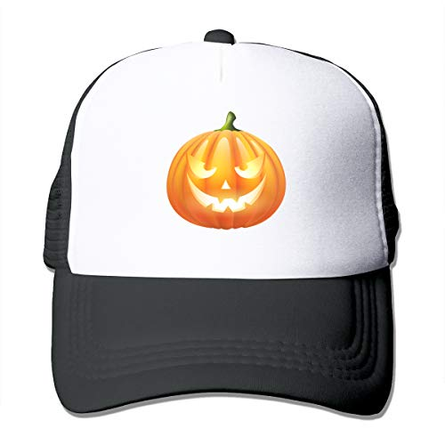 Unisex Trucker Hat Halloween Pumpkin Women Adjustable Mesh Cap Fashion Snapback Hats Black