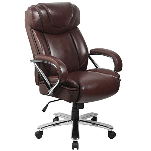 Flash Furniture HERCULES Series Big & Tall 500 lb. Rated Brown Leather Executive Swivel Chair with Extra Wide Seat