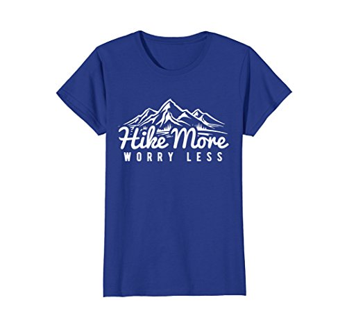 Womens Hike More Worry Less - Fun Hiking T Shirt Large Royal Blue