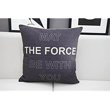Generic May the Force Be With You Pillow Cover Black Throw Pillow Case 18 x 18 Inches