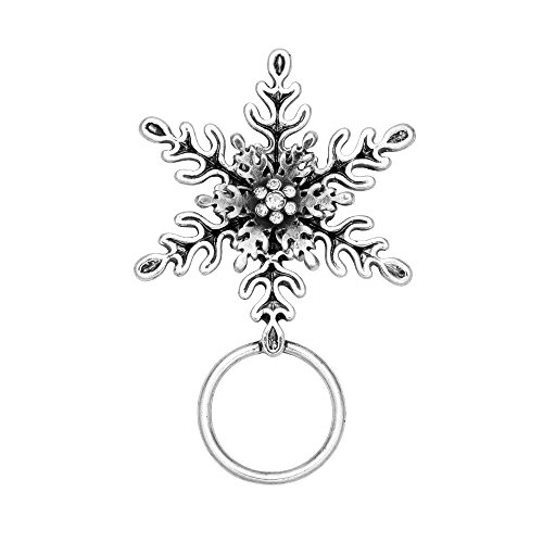 CHUANGYUN Double Snowflake Magnetic Brooch Eyeglass Holder(Silver)