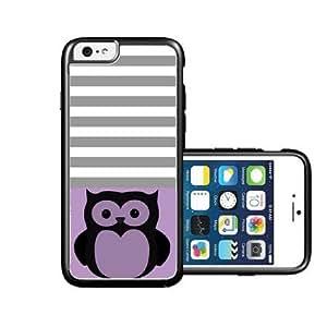 RCGrafix Brand Owl Black Viole & Grey Stripes Black iPhone 6 Case - Fits NEW Apple iPhone 6