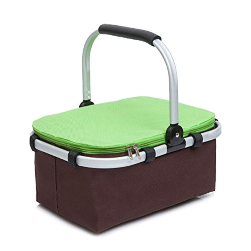Crazyworld Insulated Picnic Basket, Folding Collapsible Market Tote Picnic Hamper Set, Outdoor Thermal Cooler for 3-6 Hours Water Insulated Bag Zip Closure with Carry Handle Meat Drink Lunch Bag Green