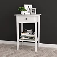 White Finish Nightstand Side End Table with Drawer and Shelf 28'H