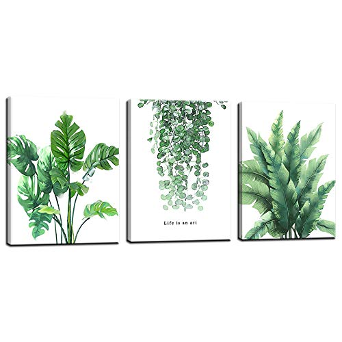 Biuteawal - Leaf Green Plant Canvas Print Quote Painting Wall Decor Simple Life Picture Set of 3 Panel Framed Botanical Houseplant Nature Fresh for Home Kitchen Study Room Decorations
