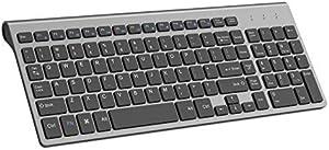 Wireless Keyboard, J JOYACCESS 2.4G Slim and Compact Wireless Keyboard for Computer,Laptop,Windows,PC,Desktop,Smart TV-Black and Grey