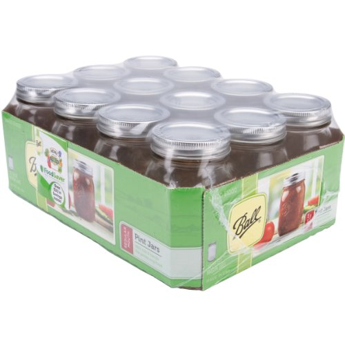 12-Pack Of Pint Regular Mouth Canning Ball Jars, Good For In The Kitchen For Storing Foods, Can Also Be Used To Organize Buttons, Beads, Embellishments, Store Screws, Nails, Washers & Other Small Item