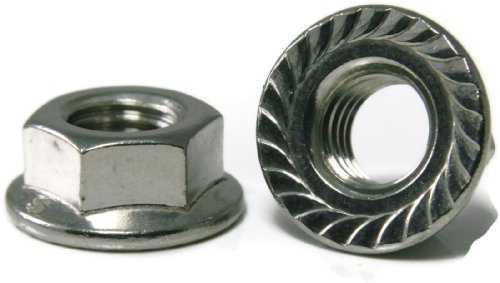 UPC 756554520081, Flange Nuts Serrated 18-8 Stainless Steel - #10/24 (.375 Flats x .219 Thick) Qty-250