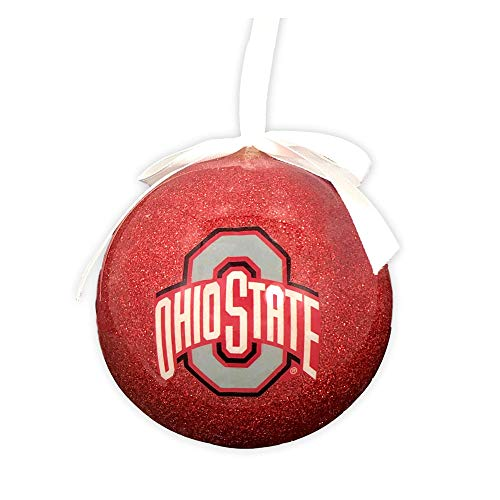 Ohio State University Buckeyes Collegiate Hanging Christmas Ball Ornament with Glittered Detail and White Bow ()