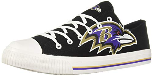 NFL Mens Low Top Big Logo Canvas Shoe - Mens, Baltimore Ravens, Large / Mens Size -
