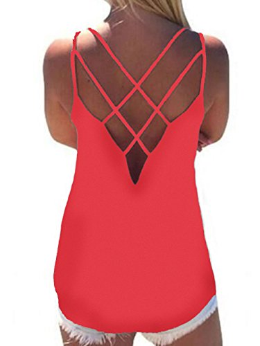 Women's Cute Criss Cross Back Tank Tops Loose Hollow Out Camisole Shirt(Red,2X-Large)
