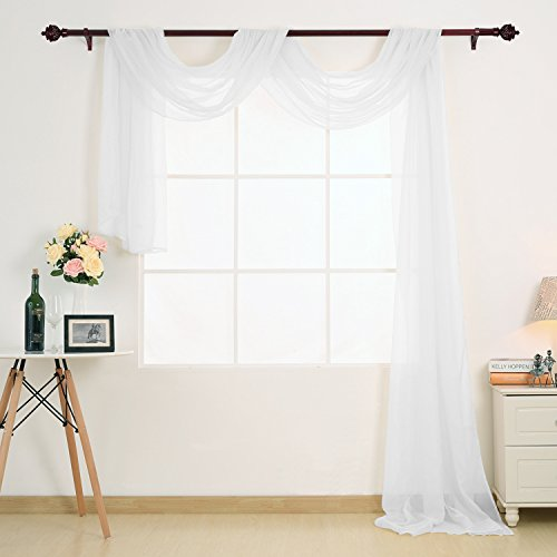 Deconovo Decorative Window Voile Sheer Scarf Valance Curtain Panel for Window White 54W x 216L Inch One (Sheer Window Fabric)