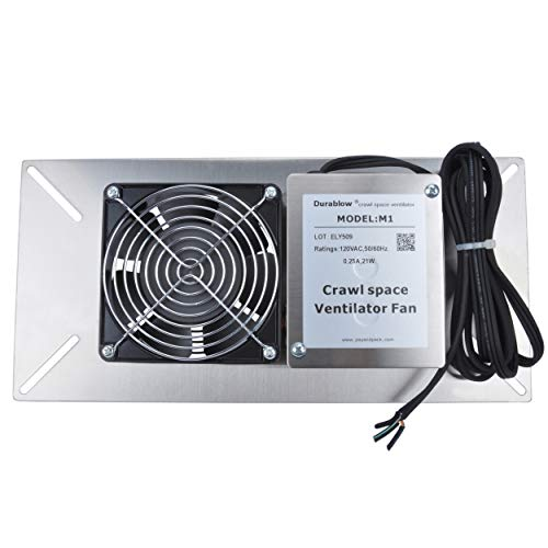 Durablow MFB M1 Air Out Stainless Steel 304 Crawl Space Foundation Fan Ventilator + Freeze Protection Thermostat + Radon Mitigation