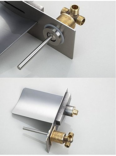 GOWE Soild Brass LED Light Waterfall Brushed Nickel Wall Mounted Bathtub Faucet Torneira Shower Bathroom Sink Faucet,Mixer Taps 3