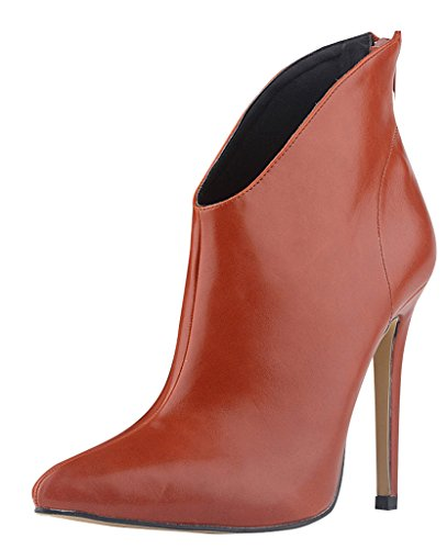 Club Shoes toe ankle Elegant Lady Office Brown High Stiletto Sexy Women Heels Pointed Boots Wotefusi Over BRqz4z