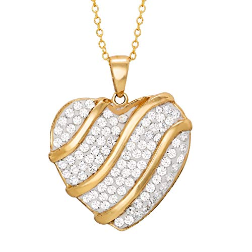 Crystalogy Jewelry for Women, Sterling Silver Gold Plated Heart Shaped Crystal Pendant, 18