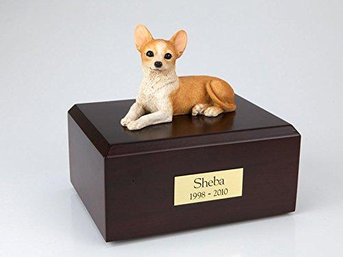GENUINE North American Hardwood and Chihuahua Figurine Urn Small