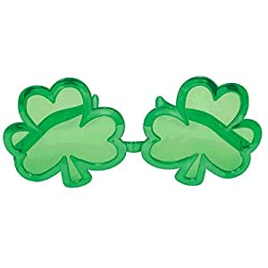 """St. Patrick's Day Giant Shamrock Plastic Eye Glasses Costume Party Accessory (1 Piece), Green, 5"""" x 11""""."""