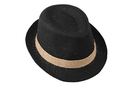Dantiya Little Boys' Kids Linen Straw Band Fedoras Hat Caps (Straw Trilby Hat)