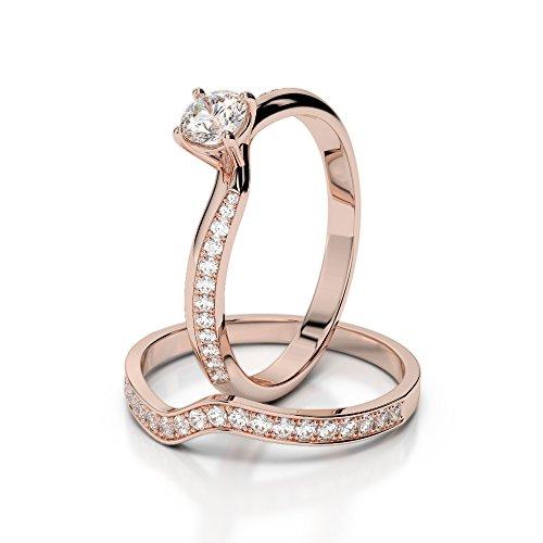 Or Rose 18carats 1/2ct G-H/VS sertie de diamants Coupe ronde de mariage Bague de fiançailles et ensemble de Agdr-2017
