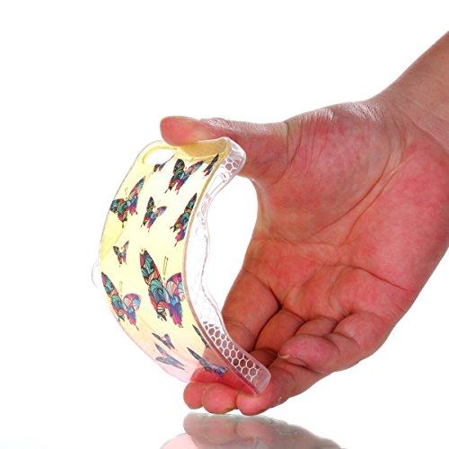 Silicona Funda iPhone 5/5S/SE(con Gratis Pantalla Protector),KaseHom Brillante Diamante Stylish Diseño Oro y Rojo Patrón de Combinación Caja Suave + Flexible TPU Gel Silicone Bumper Shock-Absorción An Mariposa Colorida