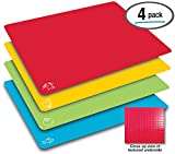 Extra Thick Flexible Plastic Cutting Board Mats, Set of 4, Color Coded with Food Icons, Waffle Back Grip Underside by Better Kitchen Products