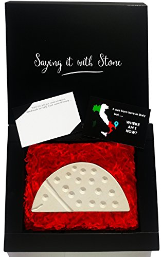 HandMade in Italy Ladybug - Elegant gift box and message card included - Ancient rare Italian stone containing fossil fragments - symbol of good luck - congratulations new job house newlyweds gifts