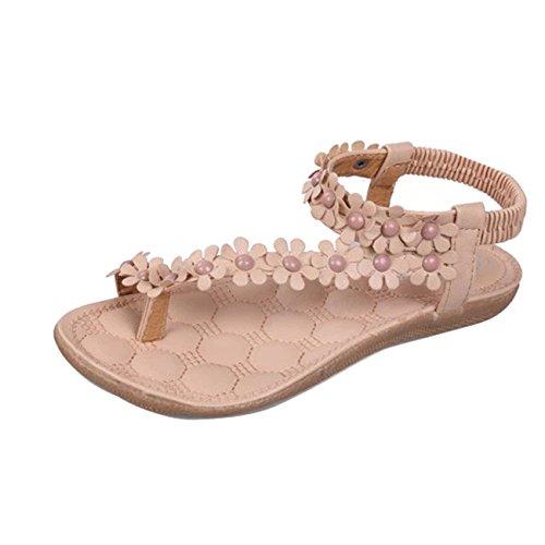 Gaorui Women Ladies Beach Bohemia Sandals Slingback Ankle Strap Slingback Rhinestone Flower Flats Thong Slipper