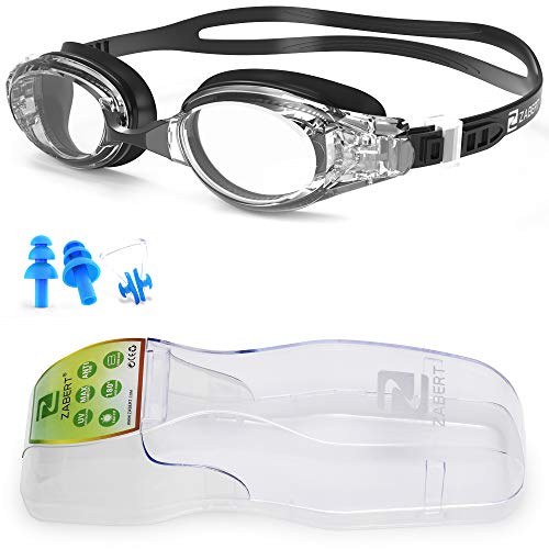 ZABERT Swim Goggles, W5 Black Clear Lens Pro Swimming Goggles for Women Men Youth Adult Kids Girls Boys - Clear Lens Anti Fog UV Quick Adjust Large Size Wide View - Indoor Open Water