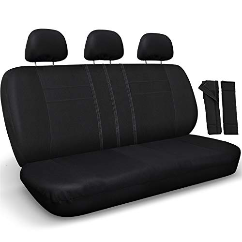 OxGord Back Seat Cover - Poly Cloth Solid Black Rear Bench Universal Fit Car, Truck, SUV, Van - 8 Piece