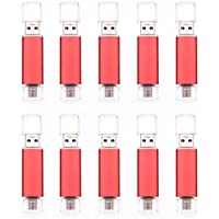FEBNISCTE 10pcs Red 16GB USB 2.0 OTG Flash Drive with Micro USB Connector for Android Mobile Devices