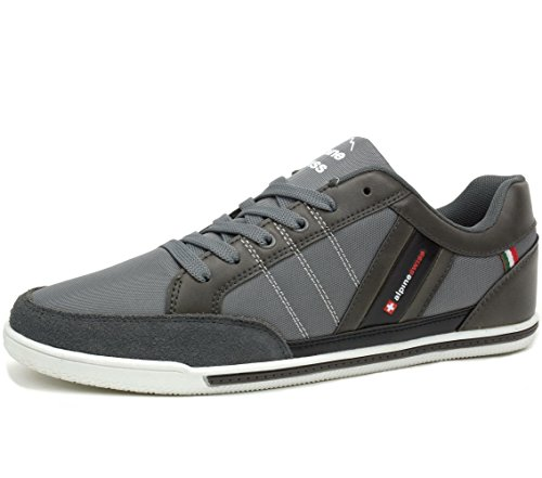 alpine swiss Mens Stefan Gray Suede Trim Retro Fashion Sneakers 11 M US