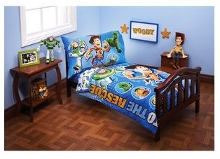 Toy Story Four Piece Toddler Bed Set'' Toy Story to the Rescue''