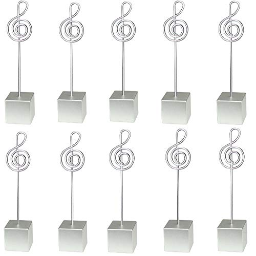 10pcs Music Shape Table Number Holder Name Place Card Holder Memo Clip Holder Standr Pictures Card Paper Menu Clip … (Silver)