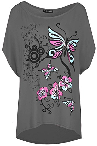 Oops Outlet Damen Übergroßer Baggy-stil Rundhals Lagenlook Schmetterling  Aufdruck Fledermausärmel Kurzärmeliges Top - Dunkelgrau, S/M (UK 8/10):  Amazon.de: ...