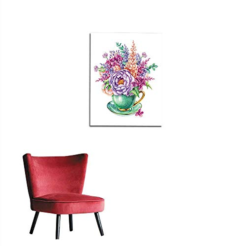 longbuyer Photographic Wallpaper Watercolor Illustration Easter Floral Background Invitation Greeting Card Wild Flowers Bouquet in Tea Cup Mural 20
