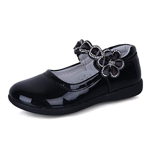 (Respctful✿Baby Girls Mary Jane Toddler Walking Flat Infant Girl Bow Princess Dress Shoes Non Slip Rubber Sole Black)