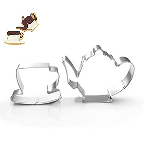 ZJWEI Teapot Cup Cookie Cutter for Celebrations Christmas Birthday Party Wedding Holiday