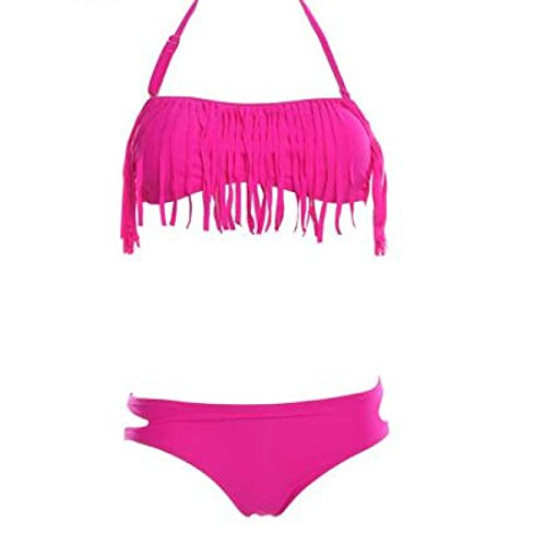 TAOZHN Bikini Bikini Femenino S M L Deportes Acuáticos Playa Sin Mangas Temperamento Bikini Consejo De La Escultura Apretado Traje De Baño RoseRed