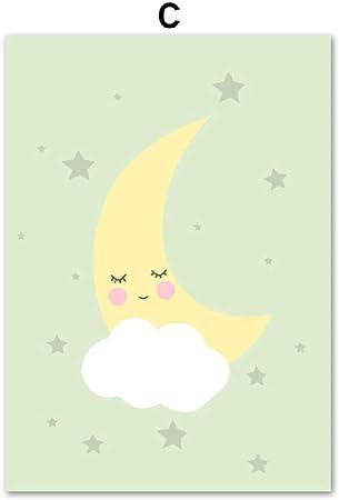 Dessin Animé Sun Moon Nuage étoile Mur Art Sur Toile