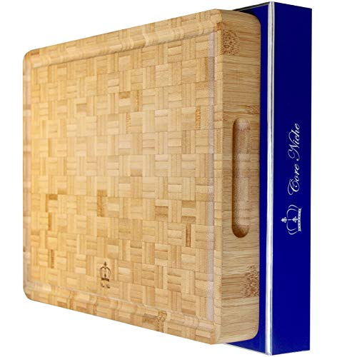 ⭐️NEW⭐ Large Bamboo Cutting Board | Thick Eco Friendly Reversible Premium Chopping amp Carving Countertop Block | Juice Grooves | End Grain | Food Preparation amp Serving | Luxury Gift Box |15x11x17 inch