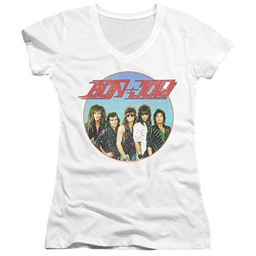Bon Jovi Juniors V-Neck T-Shirt Vintage Photo White Tee, Small ()