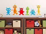 Sunny Decals Alien Fabric Wall Decals (Set of 6), Small